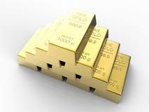 Hög av guldtackor Arkivbild