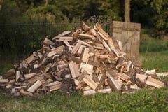 Hög av huggit av trä royaltyfria bilder