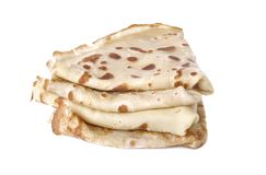 Hög av isolerade franska pannkakor Arkivbild