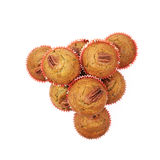 Hög av isolerade muffin för pecannötmutter Royaltyfri Fotografi