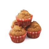 Hög av isolerade muffin för pecannötmutter Arkivfoton