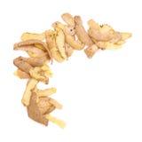 Hög av isolerade potatispeels Fotografering för Bildbyråer