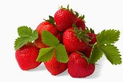 Hög av (isoliated) nya jordgubbar, Arkivfoton