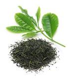 Hög av japanskt grönt te med unga sidor Royaltyfri Fotografi