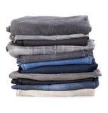 Hög av jeans Royaltyfri Bild