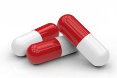 Hög av kapselpreventivpilleren Arkivfoton