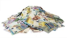 Hög av kassa, bunt av pengar, 2016 nya euroräkningar Royaltyfri Bild