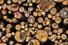 Hög av klippta Wood journaler för vedträbränsle Arkivbild