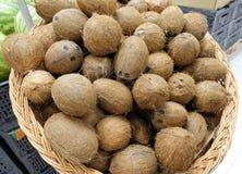 Hög av kokosnötter i matmarknaden arkivbild