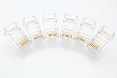 Hög av kontaktdon för Ethernet RJ45 Arkivfoto