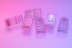 Hög av kontaktdon för Ethernet RJ45 Fotografering för Bildbyråer