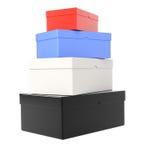 Hög av kulöra shoeboxes Royaltyfri Bild