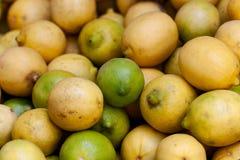 Hög av limefrukter och citroner arkivfoto