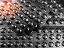 Hög av minnestavlapillret i packe för blåsa för silveraluminiumfolie Farmaceutisk bransch Apotekprodukter pharmaceutics drog royaltyfria foton