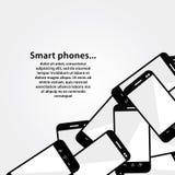 Hög av mobiltelefoner. Bakgrundswi för modern design royaltyfri illustrationer