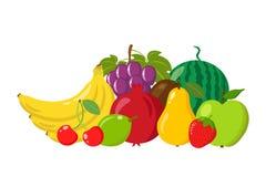 Hög av naturliga frukter som isoleras på vit bakgrund Tecknad film- och lägenhetstil också vektor för coreldrawillustration Royaltyfri Bild
