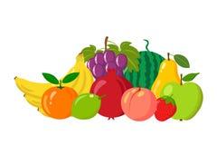 Hög av naturliga frukter som isoleras på vit bakgrund Tecknad film- och lägenhetstil också vektor för coreldrawillustration Arkivfoto