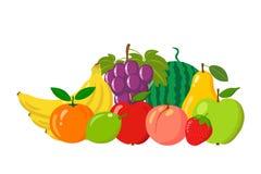 Hög av naturliga frukter som isoleras på vit bakgrund Tecknad film- och lägenhetstil också vektor för coreldrawillustration Arkivbild