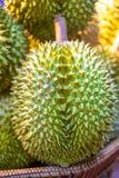 Hög av nya Durianfrukter arkivfoton