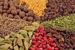 Hög av olika kryddor arkivfoton