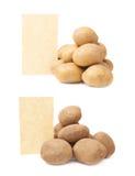Hög av potatisar mot stycke av papper Royaltyfria Foton