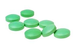 Hög av preventivpillerar som isoleras på vit bakgrund Fotografering för Bildbyråer