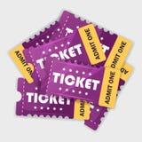 Hög av purpurfärgade biljetter royaltyfri illustrationer