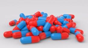 Hög av röda och blåa medicinska kapslar royaltyfri illustrationer