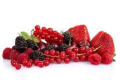 Hög av röda sommarfrukter eller bär Arkivfoto