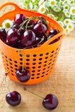 Hög av söta körsbär i korg Royaltyfria Bilder