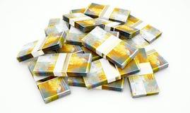 Hög av schweizaren Franc Notes royaltyfria bilder