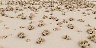 Hög av skallar på sand Apokalyps- och helvetebegrepp renderin 3D stock illustrationer