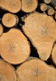 Hög av staplade Wood journaler Arkivbilder
