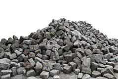 Hög av stenar - vit bakgrund Arkivbild