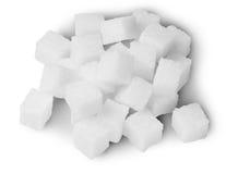 Hög av Sugar Cubes On Top Arkivbilder