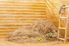 Hög av sugrör i ett brädehörn Royaltyfri Foto