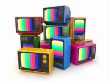 Hög av tappningtv:n. Slut av televisionen Royaltyfria Bilder