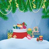 Hög av tecknad filmgåvaaskar med pilbågar och band, full Santas påse, leksak Granfilial, girland som är slingrande Colourfull gåv vektor illustrationer