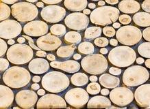 Hög av wood cirkelbakgrund för journal, closeup Royaltyfria Foton