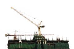 hög byggnadskonstruktion med kranen Royaltyfri Bild