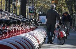 Hög cyklist som väljer en cykel i Barcelona Royaltyfri Foto