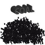 hög 3D av kol på vit bakgrund Branschmaterial stock illustrationer