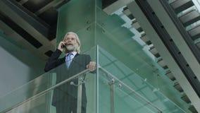 Hög danandepåringning för företags ledare i modern kontorsbyggnad stock video