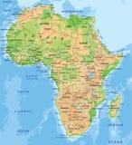 Hög detaljerad Afrika fysisk översikt med att märka royaltyfri illustrationer