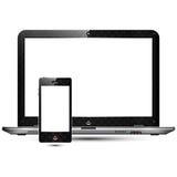 Hög detaljerad bärbar dator & smart telefon Royaltyfria Foton