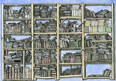 Hög detaljerad bokhylla Royaltyfria Bilder