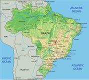 Hög detaljerad Brasilien fysisk översikt med att märka royaltyfri illustrationer