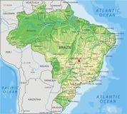 Hög detaljerad Brasilien fysisk översikt med att märka stock illustrationer