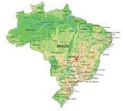 Hög detaljerad Brasilien fysisk översikt med att märka vektor illustrationer