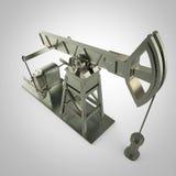 Hög detaljerad metallpump-stålar, oljeplattform isolerad tolkning bränslebransch, ekonomikrisillustration Royaltyfri Foto